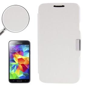 Para Galaxy S5 Estuche Funda Cuero Aplicada Brocha Blanco