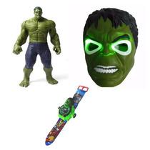 Kit Huck Mascara + Boneco + Relógio Projetor Hulk Vingadore