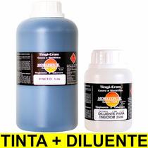 Tinta Preta + Diluente Couro Banco Carro Automotivo 1 Litro