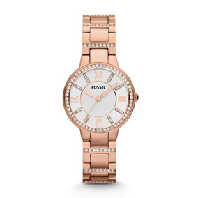 Reloj Mujer Fossil Virginia De Acero Oro Rosa Y Brillantes