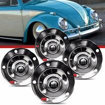 Kit Calota Tipo Viagem Centro Roda Fusca 5 Furos Cromo #24