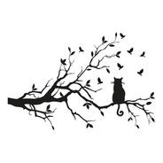 Adesivo Parede Decorativo Árvore Galho Gato Pássaro 80x120cm