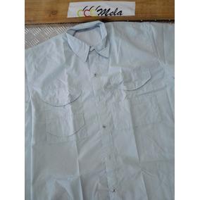 Camisa Tipo Columbia De Hombre Manga Corta Azul Cielo T-l