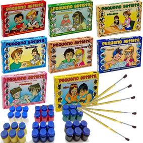 Kit 8 Caixas Moldes Forma Gesso Brinquedo + Guache + Pincel
