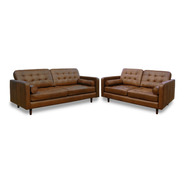 Sala De Piel 100% Noruega Sofa  Love Seat Confortopiel Ms