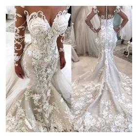 Vestido De Noiva Sereia Floral Em 3d