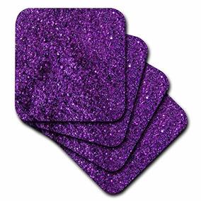 Florene Púrpura Chispa Como Posavasos, Suave, Juego De 4
