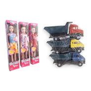 Kit Brinquedos Atacado 10 Caminhão De Plástico + 10 Bonecas