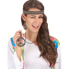 Kit Hippie Símbolo Da Paz Faixa Colar Brinco Fantasia
