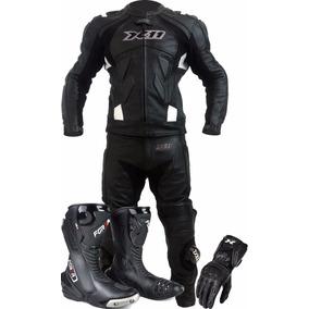 Macacão De Couro Motociclista X11+bota Forza +luva X11
