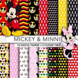 Kit Imprimible Fondos Mickey Minnie Papel Digital Clipart