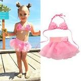 Traje De Baño Niña Y Bebé Bikini De Flores Rosa