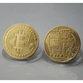 Moeda Bitcoin Física Dourada Banhada Ouro Colecionador
