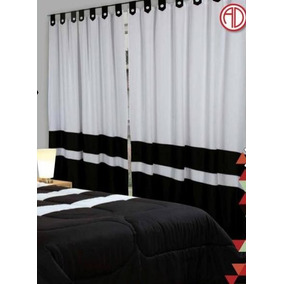 juego de cortinas ad paos combinada negro y blanca