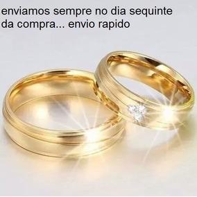Par De Alianças Casamento Noivado Banhada Ouro 6mm.com Pedra