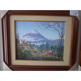 Pintura En Oleo Con Marco De Madera, El Tungurahua