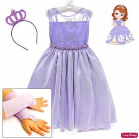 Vestido Princesa Sofia Infantil Chique Coroa Luvas Promoção