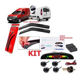 Kit Sensor Ré Rs104br Preto + Calha Chuva Fi170 Novo Fiorino