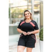 Conjunto Feminino Short Blusa Plus Size Alfaiataria 46 Ao 52