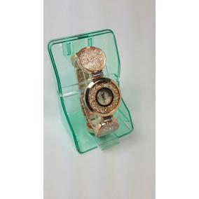 Reloj De Dama Oro Rosa Circulos Con Cristales Swarovski