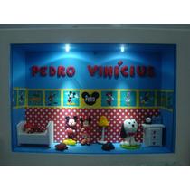 Enfeite Porta Maternidade Mickey E Minnie Com 2 Led E Vidro