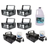 4 Mini Estrobos Luz + 2 Máquinas Humo Dj Hurricane + Líquido