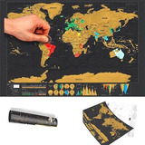 Mapamundi Para Raspar Mapa Sratch 88*59cm Datos Geograficos