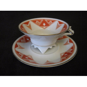 Taza De Café Art Deco En Porcelana Volkstedt