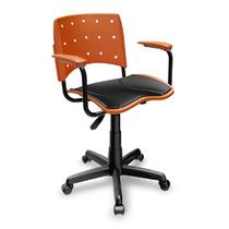Cadeira Escritório Giratória Com Braço E Estofado Laranja