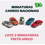 Lote Kit 2 Miniaturas Carro Nacionais Classicos Brasil Metal