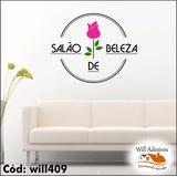Adesivo De Parede Rosa E Nome Do Salão De Beleza Will409