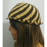 Gorro Para Dama, Tejido A Crochet En Dos Colores