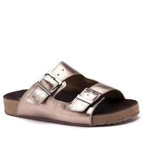 Sandália Feminina Birks 214 Em Couro Metalic Doctor Shoes