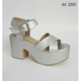 Sandalias Zapatos Zuec Con Plataforma Pulsera Tiras Cruzadas