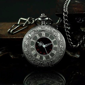 Relógio De Bolso Black Steampunk Vintage C/ Corrente Clip