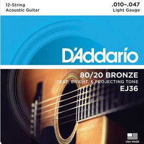 Encordoamento Violão 12 Cordas Daddario 010 Ej36 Bronze