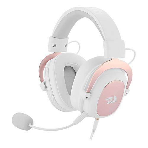 Auriculares gamer Redragon Zeus 2 blanco y rosa