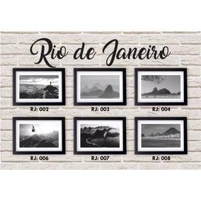 Kit 6 Quadros Rj Preto & Branco Rio De Janeiro + Moldura