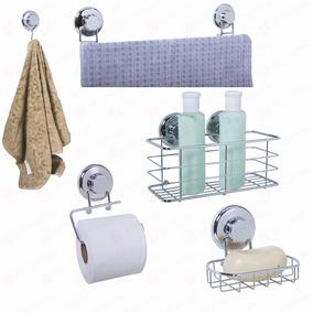 Kit Acessórios Banheiro Jg 5 Pçs Com Ventosa Inox Cromado