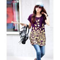 Tsuki Moda Asiatica: Blusa Bluson Holgado Flores Casual