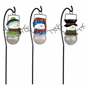 3 Muñecos De Nieve De Luz Solar, Excelente Calidad