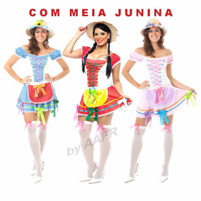 Vestido Junino Festa Caipira Roupa Completa Com Meia Junina
