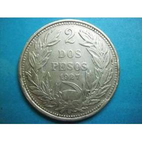Republica De Chile Moneda 2 Pesos Fecha 1927 Plata 0.500