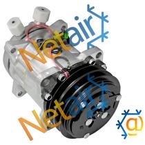 Compressor Denso 7h15 C/a Duplo 12v 8 Orelhas Saída P Cima