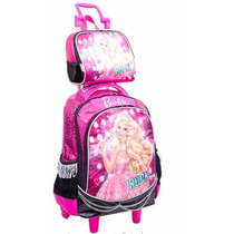 Mochila C/carrinho Barbie Rock N + Lancheira + Estojo 2 Div