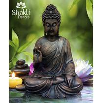 Buda - Hermosa Figura De Resina Acabado Rústico