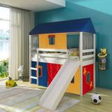 Cama Infantil Com Escorregador Tenda Multicores E Telhado Co