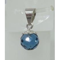 Pocao2005- Pingente De Ouro Branco 18k750 Topázio Azul P72