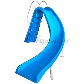 Tubo De Escorregador Curvo Feito Em Fibra Azul Até 110 Kg