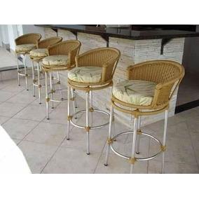 Banqueta Design Redondo Em Fibra Sintetica Para Balcão Bar